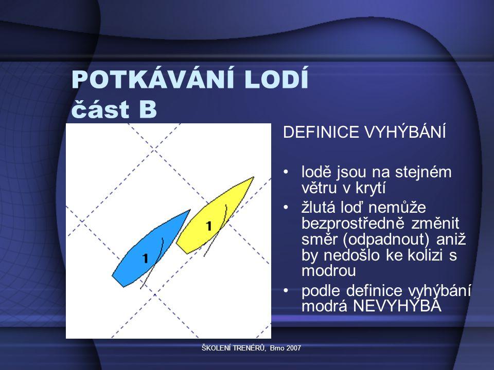 ŠKOLENÍ TRENÉRŮ, Brno 2007 POTKÁVÁNÍ LODÍ část B DEFINICE VYHÝBÁNÍ lodě jsou na stejném větru v krytí žlutá loď nemůže bezprostředně změnit směr (odpadnout) aniž by nedošlo ke kolizi s modrou podle definice vyhýbání modrá NEVYHÝBÁ