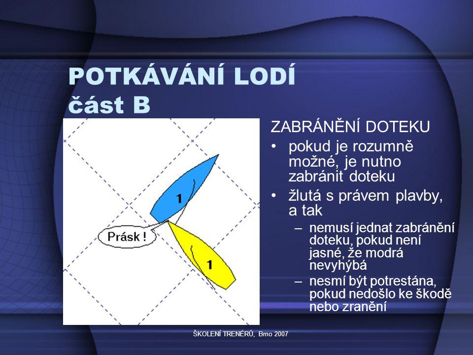 ŠKOLENÍ TRENÉRŮ, Brno 2007 POTKÁVÁNÍ LODÍ část B ZABRÁNĚNÍ DOTEKU pokud je rozumně možné, je nutno zabránit doteku žlutá s právem plavby, a tak –nemusí jednat zabránění doteku, pokud není jasné, že modrá nevyhýbá –nesmí být potrestána, pokud nedošlo ke škodě nebo zranění