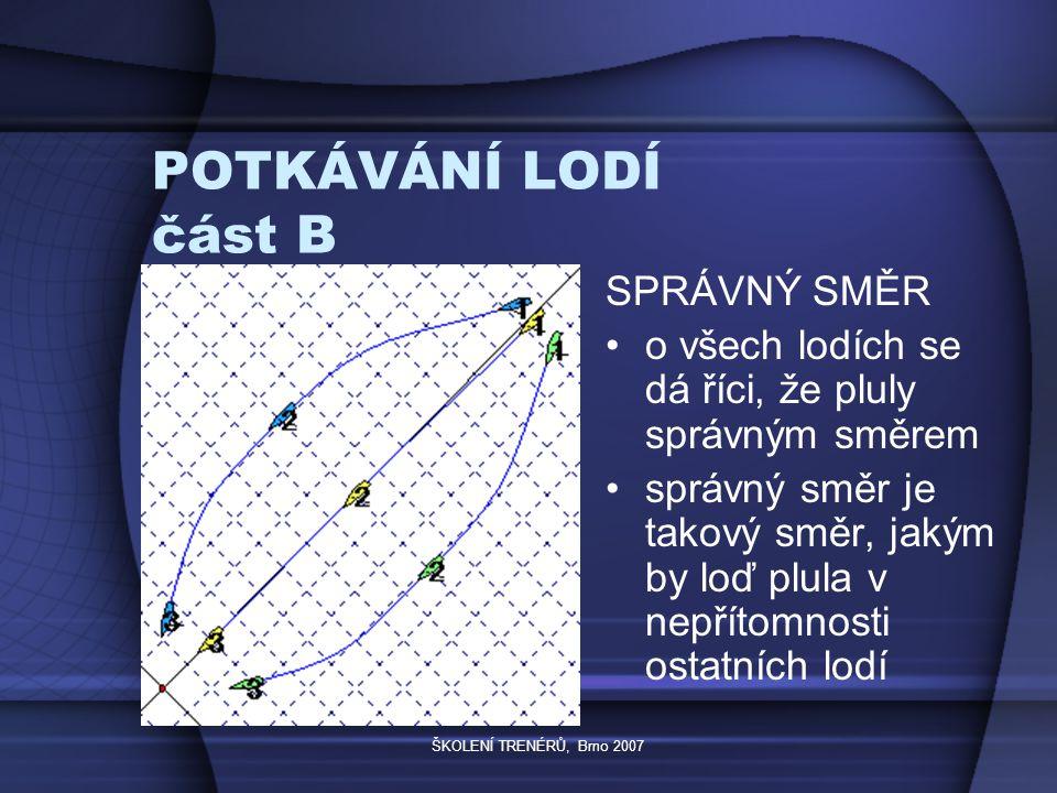 ŠKOLENÍ TRENÉRŮ, Brno 2007 POTKÁVÁNÍ LODÍ část B SPRÁVNÝ SMĚR o všech lodích se dá říci, že pluly správným směrem správný směr je takový směr, jakým by loď plula v nepřítomnosti ostatních lodí