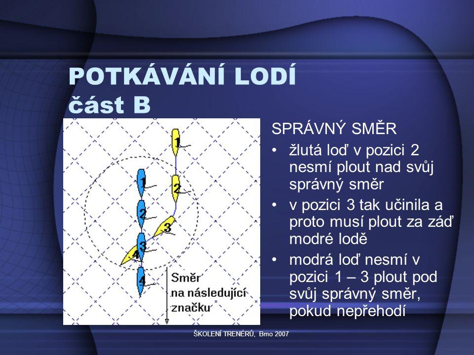ŠKOLENÍ TRENÉRŮ, Brno 2007 POTKÁVÁNÍ LODÍ část B SPRÁVNÝ SMĚR žlutá loď v pozici 2 nesmí plout nad svůj správný směr v pozici 3 tak učinila a proto musí plout za záď modré lodě modrá loď nesmí v pozici 1 – 3 plout pod svůj správný směr, pokud nepřehodí