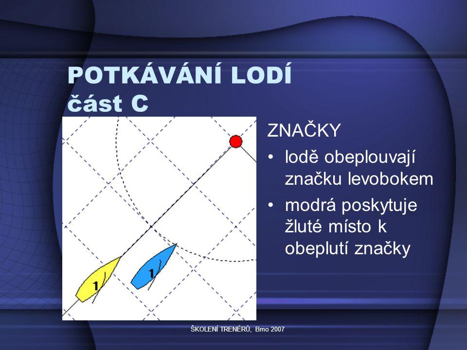 ŠKOLENÍ TRENÉRŮ, Brno 2007 POTKÁVÁNÍ LODÍ část C ZNAČKY lodě obeplouvají značku levobokem modrá poskytuje žluté místo k obeplutí značky