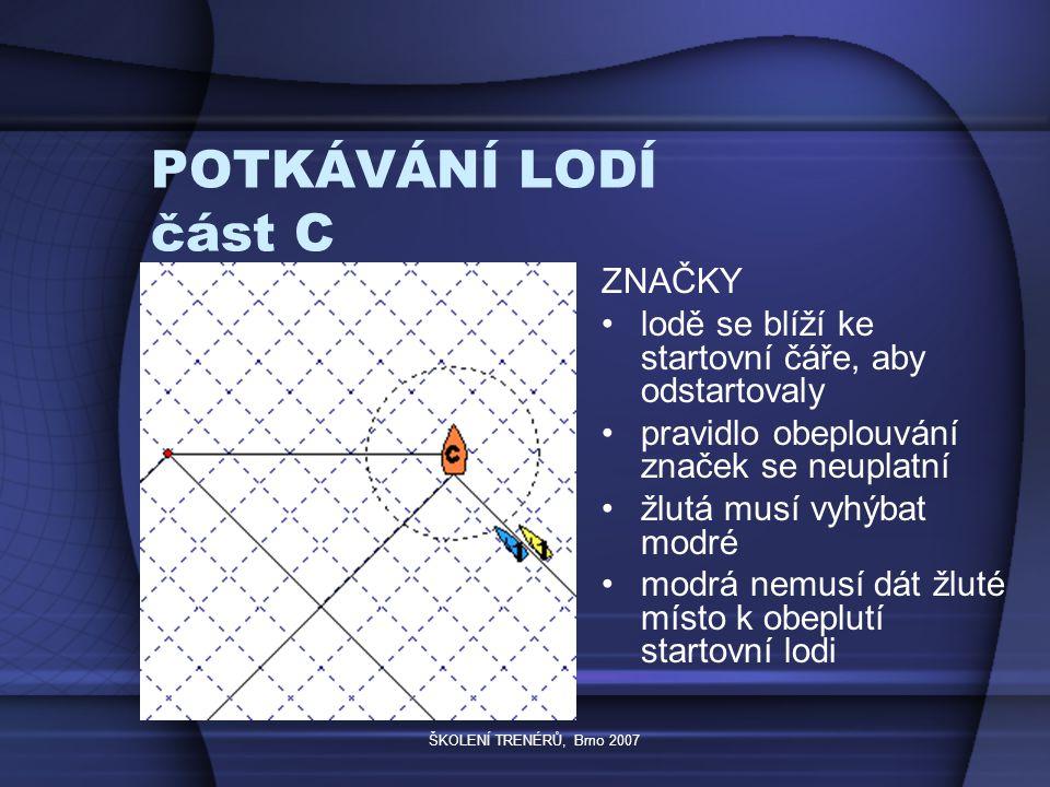 ŠKOLENÍ TRENÉRŮ, Brno 2007 POTKÁVÁNÍ LODÍ část C ZNAČKY lodě se blíží ke startovní čáře, aby odstartovaly pravidlo obeplouvání značek se neuplatní žlutá musí vyhýbat modré modrá nemusí dát žluté místo k obeplutí startovní lodi