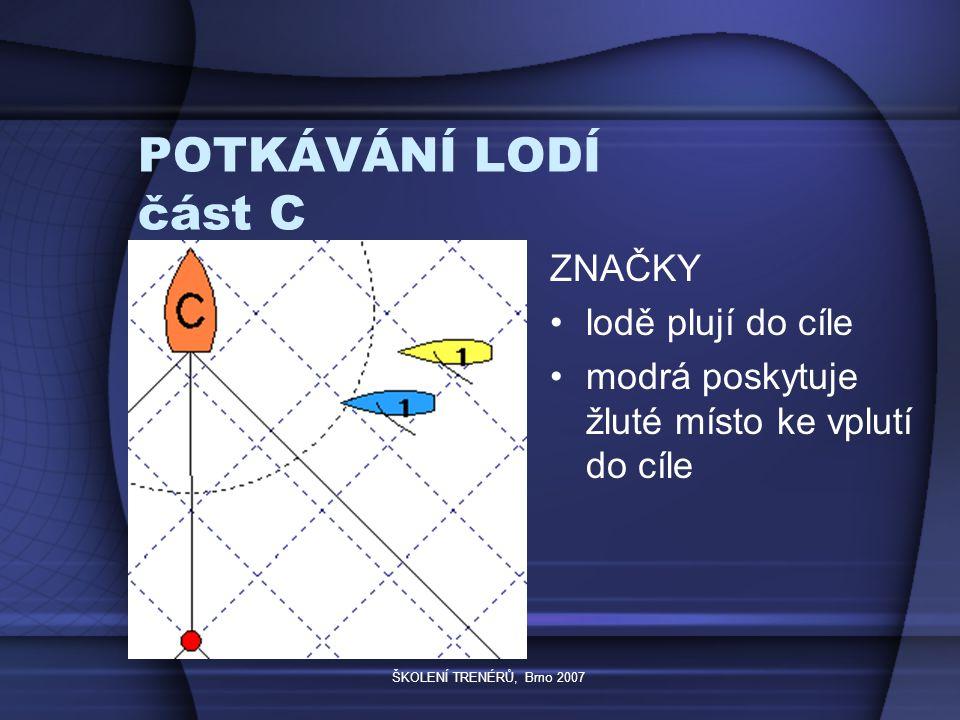ŠKOLENÍ TRENÉRŮ, Brno 2007 POTKÁVÁNÍ LODÍ část C ZNAČKY lodě plují do cíle modrá poskytuje žluté místo ke vplutí do cíle
