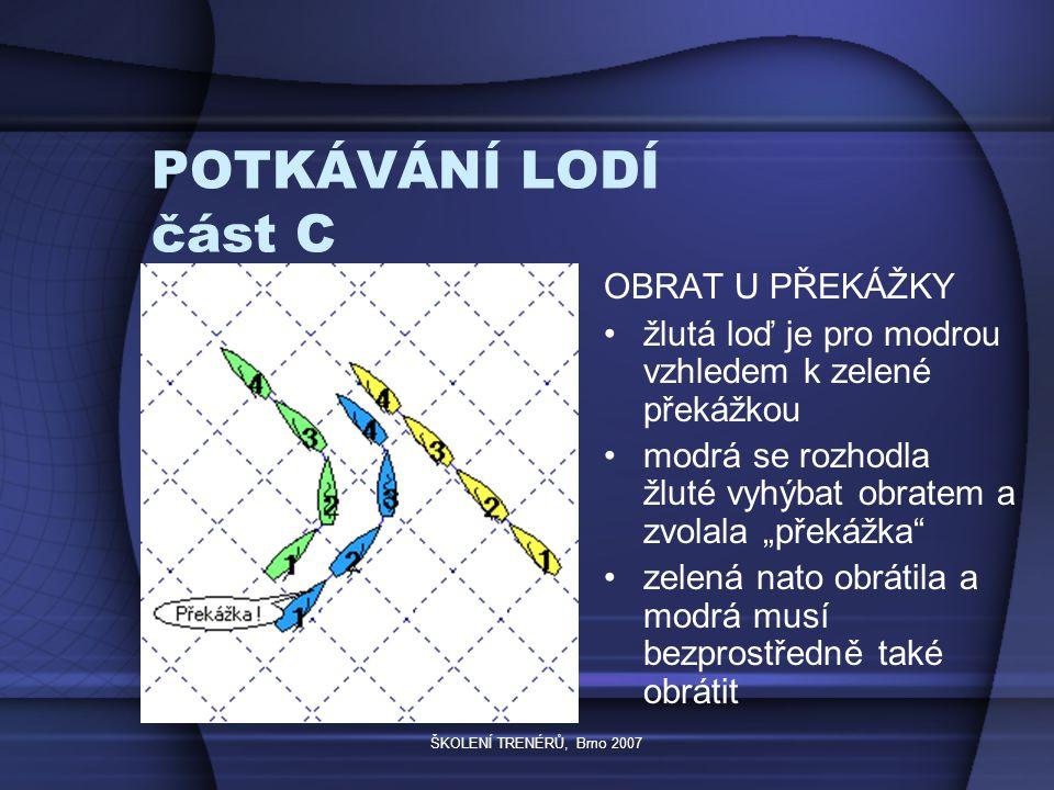 """ŠKOLENÍ TRENÉRŮ, Brno 2007 POTKÁVÁNÍ LODÍ část C OBRAT U PŘEKÁŽKY žlutá loď je pro modrou vzhledem k zelené překážkou modrá se rozhodla žluté vyhýbat obratem a zvolala """"překážka zelená nato obrátila a modrá musí bezprostředně také obrátit"""