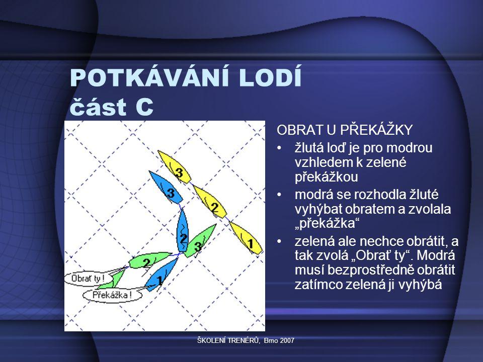 """ŠKOLENÍ TRENÉRŮ, Brno 2007 POTKÁVÁNÍ LODÍ část C OBRAT U PŘEKÁŽKY žlutá loď je pro modrou vzhledem k zelené překážkou modrá se rozhodla žluté vyhýbat obratem a zvolala """"překážka zelená ale nechce obrátit, a tak zvolá """"Obrať ty ."""