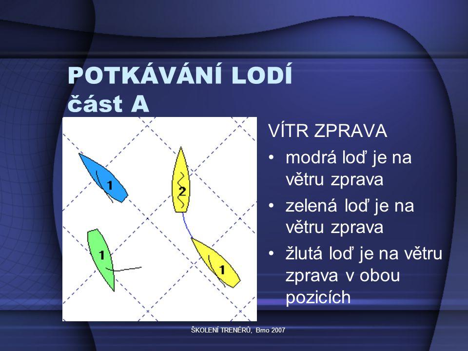 """ŠKOLENÍ TRENÉRŮ, Brno 2007 POTKÁVÁNÍ LODÍ část D loď po startovním znamení vracející se na startovní čáru musí vyhýbat lodím, které tak nečiní loď vykonávající trestné otáčky musí vyhýbat lodím, které tak nečiní loď pohybující se vzat """"zpětným plachtěním musí vyhýbat lodím, které tak nečiní"""