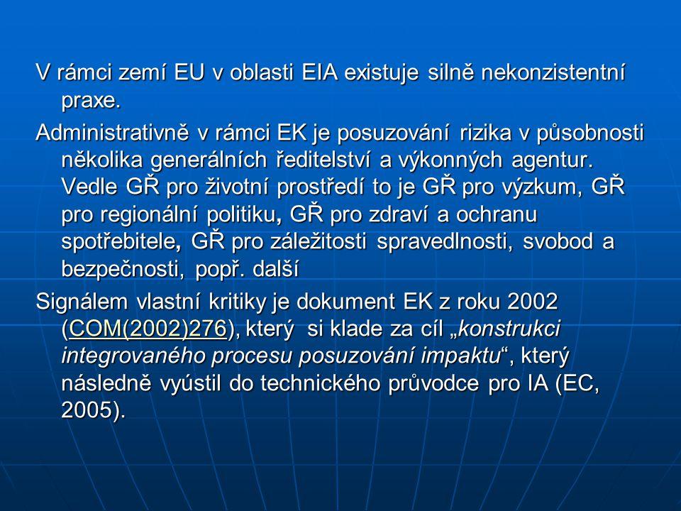 V rámci zemí EU v oblasti EIA existuje silně nekonzistentní praxe. Administrativně v rámci EK je posuzování rizika v působnosti několika generálních ř