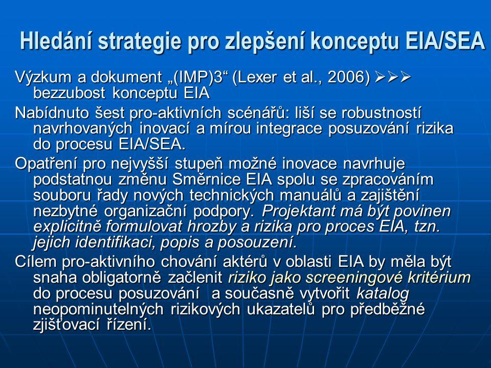 """Hledání strategie pro zlepšení konceptu EIA/SEA Výzkum a dokument """"(IMP)3"""" (Lexer et al., 2006)  bezzubost konceptu EIA Nabídnuto šest pro-aktivníc"""