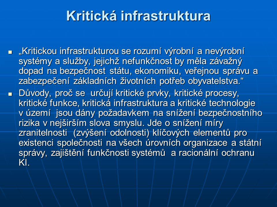 """Kritická infrastruktura """"Kritickou infrastrukturou se rozumí výrobní a nevýrobní systémy a služby, jejichž nefunkčnost by měla závažný dopad na bezpeč"""
