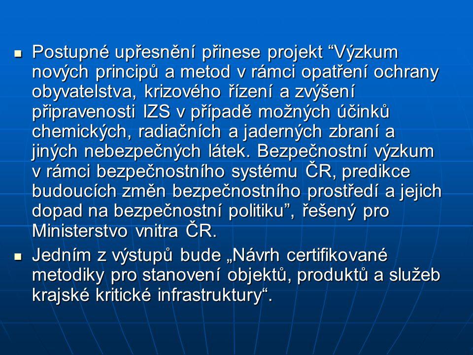 """Postupné upřesnění přinese projekt """"Výzkum nových principů a metod v rámci opatření ochrany obyvatelstva, krizového řízení a zvýšení připravenosti IZS"""