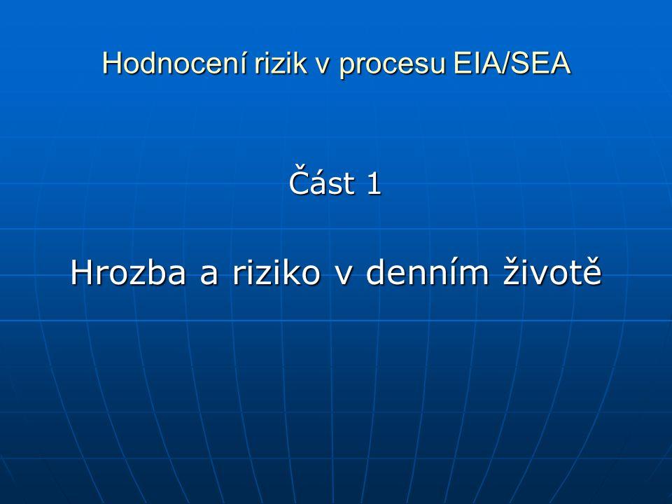 Hodnocení rizik v procesu EIA/SEA Část 1 Hrozba a riziko v denním životě