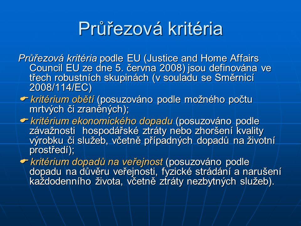 Průřezová kritéria Průřezová kritéria podle EU (Justice and Home Affairs Council EU ze dne 5. června 2008) jsou definována ve třech robustních skupiná