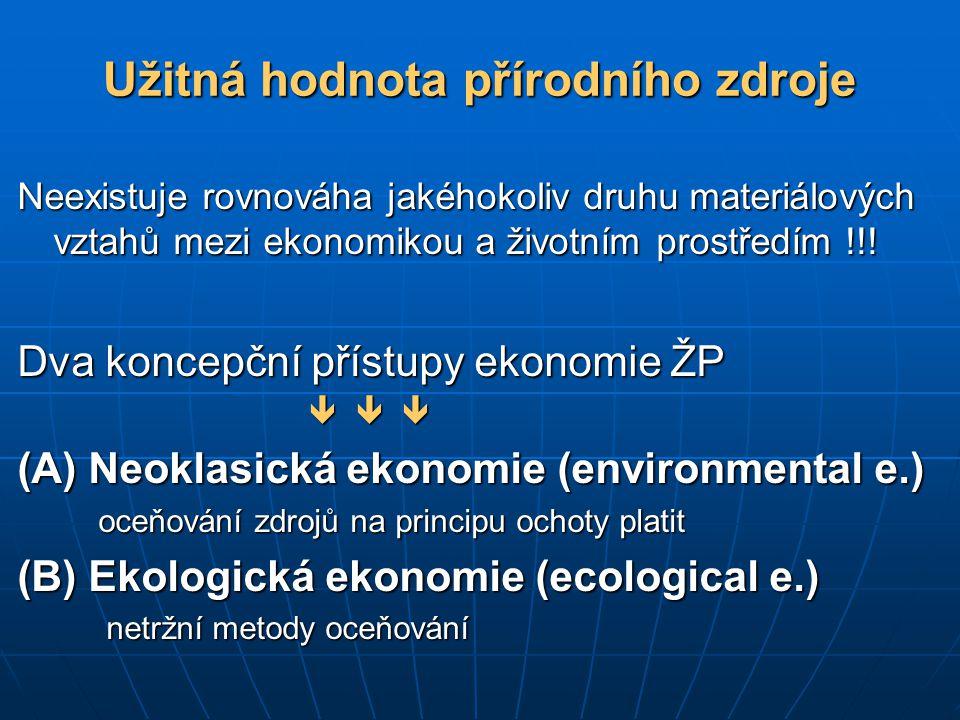 Užitná hodnota přírodního zdroje Neexistuje rovnováha jakéhokoliv druhu materiálových vztahů mezi ekonomikou a životním prostředím !!! Dva koncepční p