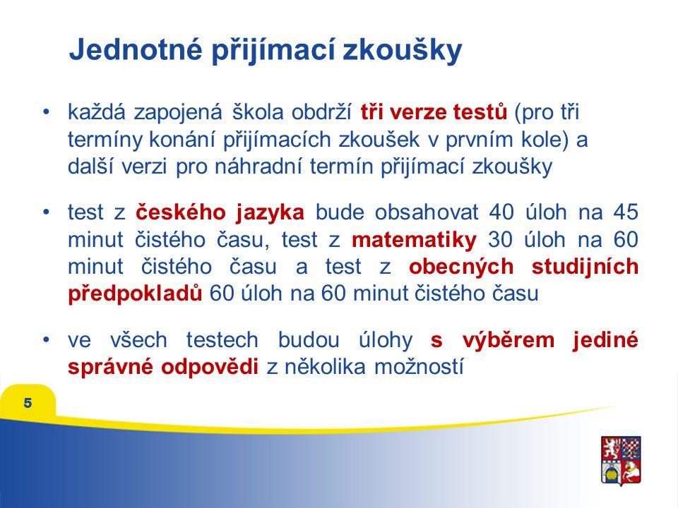 Termíny konání přijímacích zkoušek jednotné přijímací zkoušky v rámci prvního kola přijímacího řízení proběhnou ve dnech 26., 27.