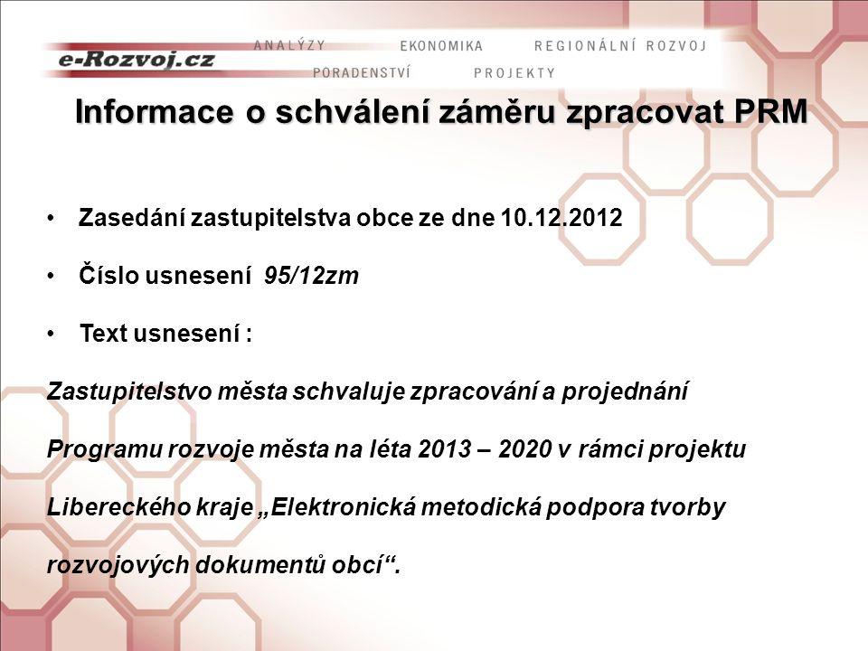 Informace o personálním zajištění zpracování PRM Složení realizačního týmu Ing.