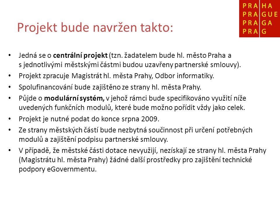 Projekt bude navržen takto: Jedná se o centrální projekt (tzn. žadatelem bude hl. město Praha a s jednotlivými městskými částmi budou uzavřeny partner