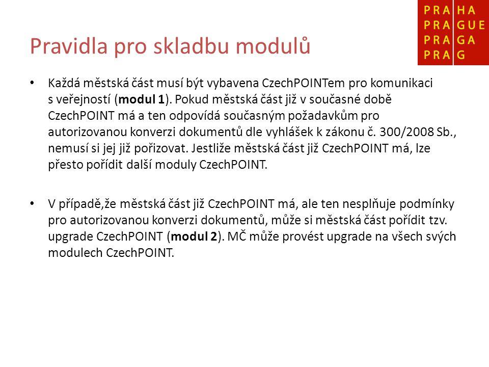 Pravidla pro skladbu modulů Každá městská část musí být vybavena CzechPOINTem pro komunikaci s veřejností (modul 1). Pokud městská část již v současné