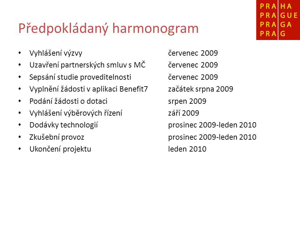 Předpokládaný harmonogram Vyhlášení výzvyčervenec 2009 Uzavření partnerských smluv s MČčervenec 2009 Sepsání studie proveditelnosti červenec 2009 Vypl