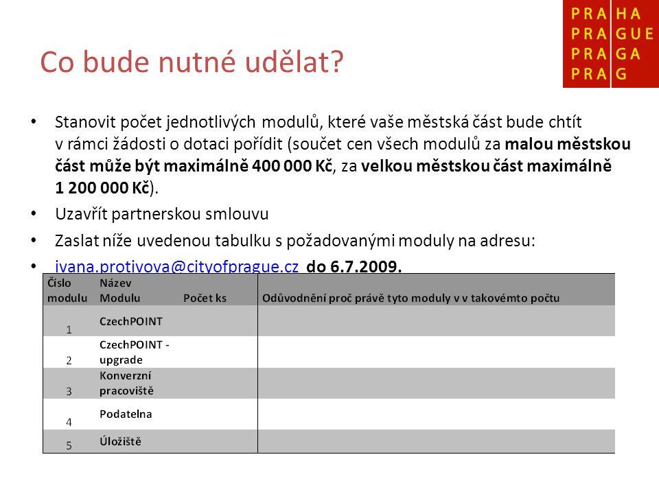 Co bude nutné udělat? Stanovit počet jednotlivých modulů, které vaše městská část bude chtít v rámci žádosti o dotaci pořídit (součet cen všech modulů