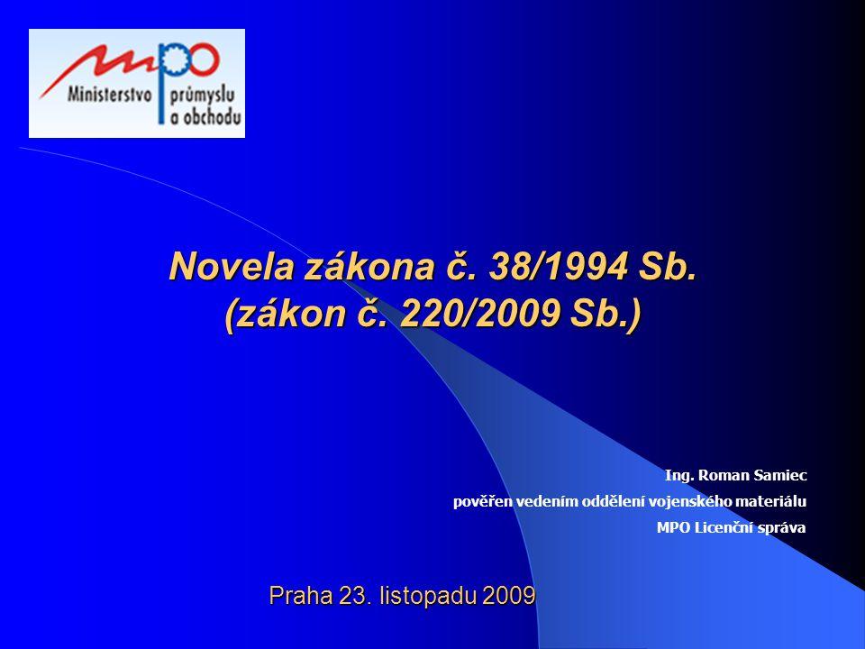 Novela zákona č. 38/1994 Sb. (zákon č. 220/2009 Sb.) Praha 23. listopadu 2009 Ing. Roman Samiec pověřen vedením oddělení vojenského materiálu MPO Lice