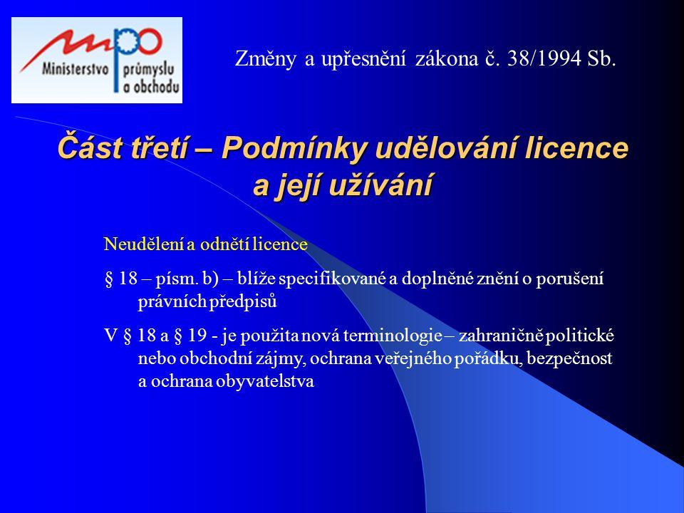 Část třetí – Podmínky udělování licence a její užívání Neudělení a odnětí licence § 18 – písm. b) – blíže specifikované a doplněné znění o porušení pr