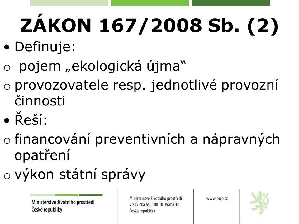 """ZÁKON 167/2008 Sb. (2) Definuje: o pojem """"ekologická újma"""" o provozovatele resp. jednotlivé provozní činnosti Řeší: o financování preventivních a nápr"""
