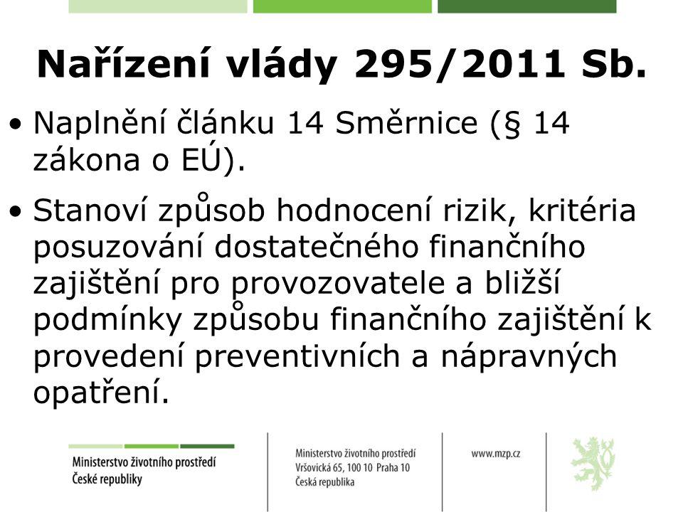 Nařízení vlády 295/2011 Sb. Naplnění článku 14 Směrnice (§ 14 zákona o EÚ). Stanoví způsob hodnocení rizik, kritéria posuzování dostatečného finančníh