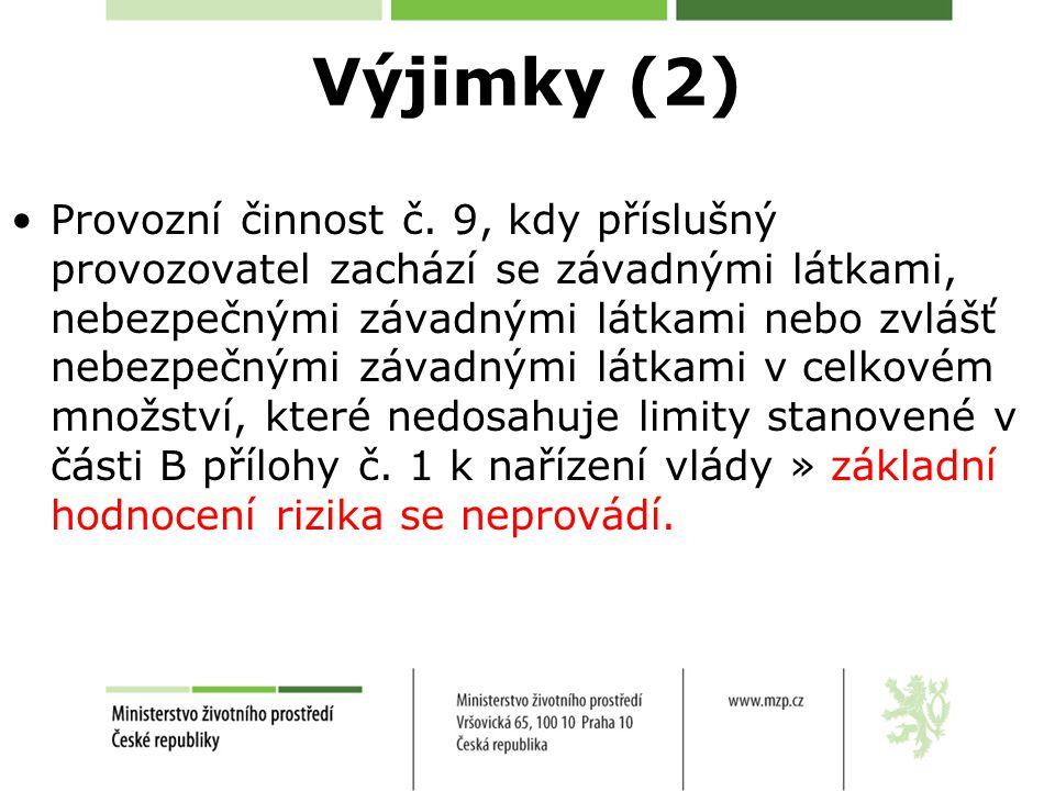 Výjimky (2) Provozní činnost č.
