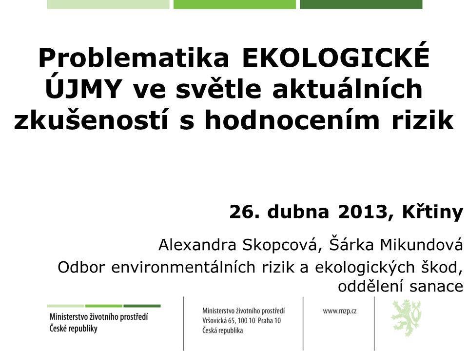 Problematika EKOLOGICKÉ ÚJMY ve světle aktuálních zkušeností s hodnocením rizik 26.