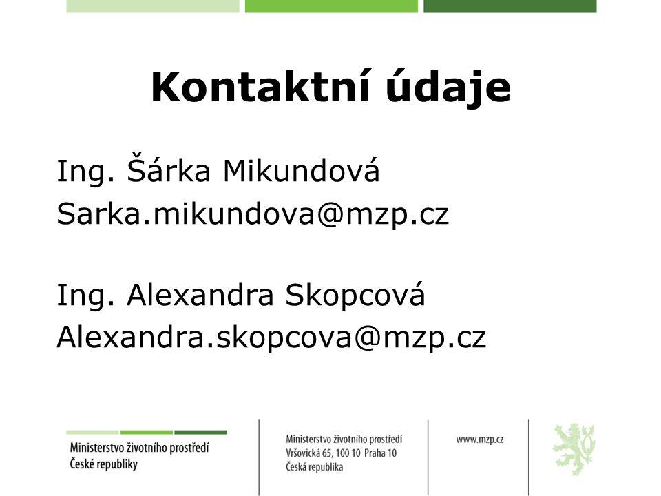 Kontaktní údaje Ing. Šárka Mikundová Sarka.mikundova@mzp.cz Ing. Alexandra Skopcová Alexandra.skopcova@mzp.cz