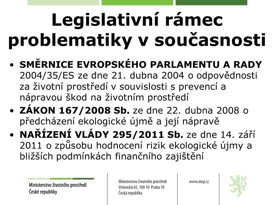 Legislativní rámec problematiky v současnosti SMĚRNICE EVROPSKÉHO PARLAMENTU A RADY 2004/35/ES ze dne 21. dubna 2004 o odpovědnosti za životní prostře