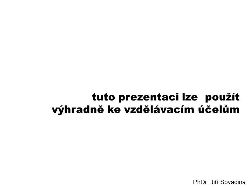 tuto prezentaci lze použít výhradně ke vzdělávacím účelům PhDr. Jiří Sovadina