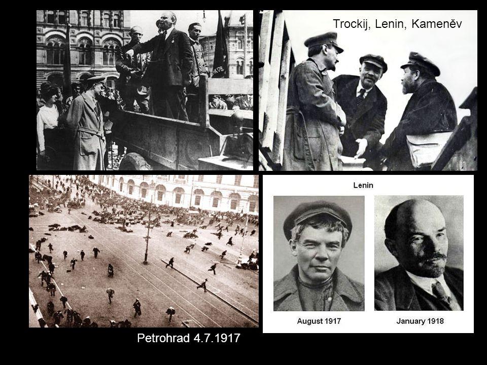 Petrohrad 4.7.1917 Trockij, Lenin, Kameněv