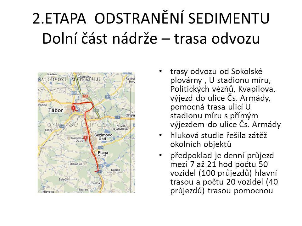 3.ETAPA ODSTRANĚNÍ SEDIMENTU Horní část nádrže