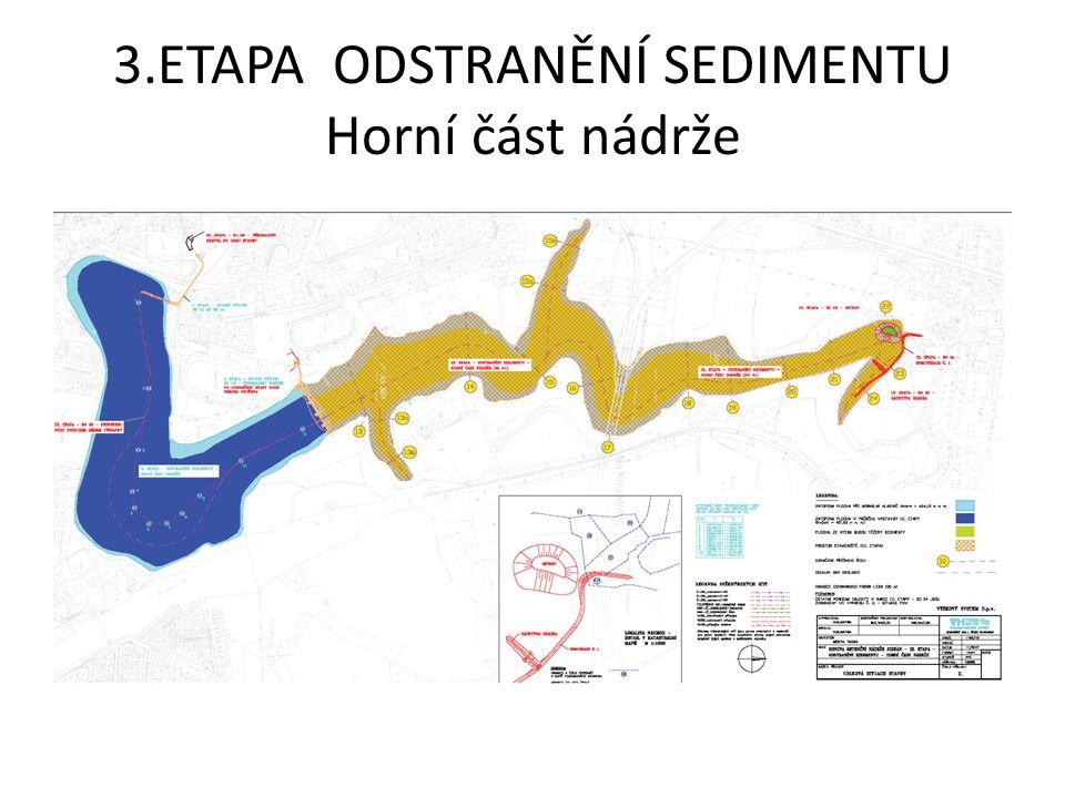 3.ETAPA ODSTRANĚNÍ SEDIMENTU Horní část nádrže – mocnost sedimentu Předpokládaný objem těženého sedimentu 120 892 m 3