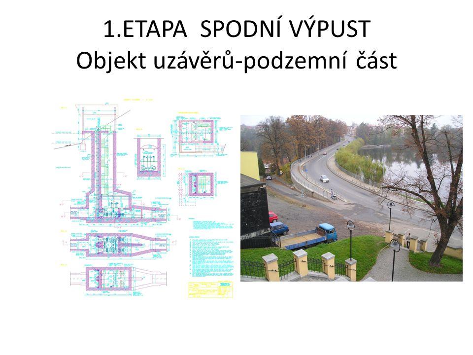 1.ETAPA SPODNÍ VÝPUST Objekt uzávěrů-nadzemní část umístění objektu pod hranou parkové plochy