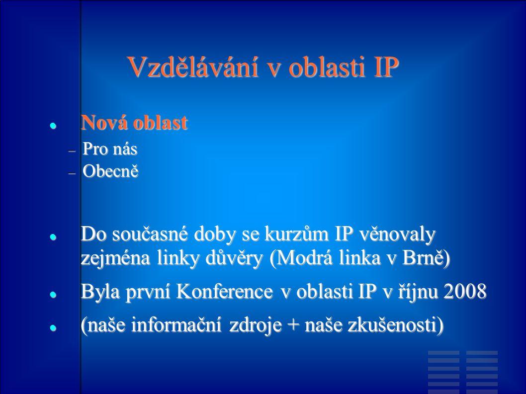 Vzdělávání v oblasti IP Nová oblast Nová oblast  Pro nás  Obecně Do současné doby se kurzům IP věnovaly zejména linky důvěry (Modrá linka v Brně) Do současné doby se kurzům IP věnovaly zejména linky důvěry (Modrá linka v Brně) Byla první Konference v oblasti IP v říjnu 2008 Byla první Konference v oblasti IP v říjnu 2008 (naše informační zdroje + naše zkušenosti) (naše informační zdroje + naše zkušenosti)