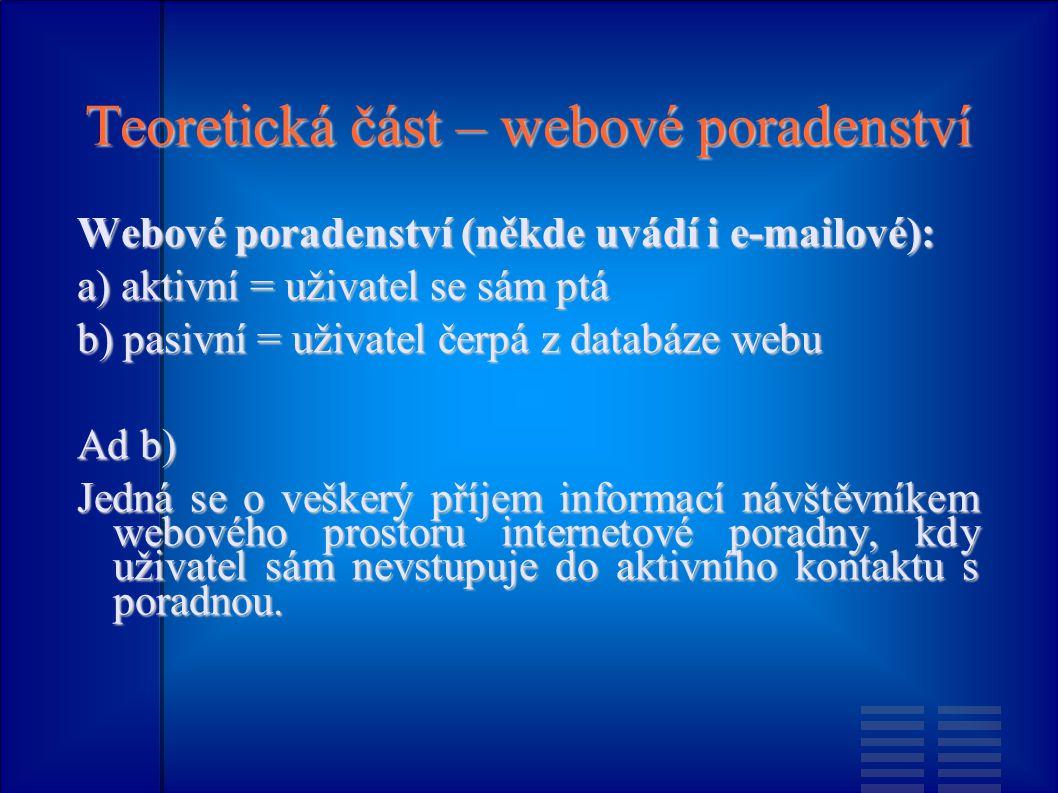 Teoretická část – webové poradenství Webové poradenství (někde uvádí i e-mailové): a) aktivní = uživatel se sám ptá b) pasivní = uživatel čerpá z databáze webu Ad b) Jedná se o veškerý příjem informací návštěvníkem webového prostoru internetové poradny, kdy uživatel sám nevstupuje do aktivního kontaktu s poradnou.