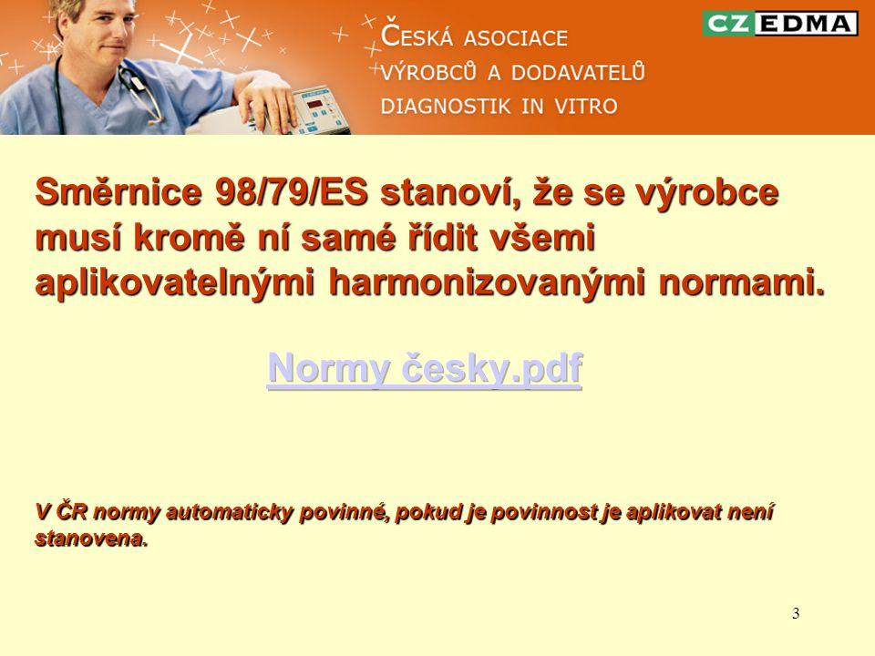 4 EN 13612:2002 Hodnocení funkce zdravotnických prostředků pro diagnostiku in vitro EN 13640:2002 Zkoušení stálosti činidel pro diagnostiku in vitro