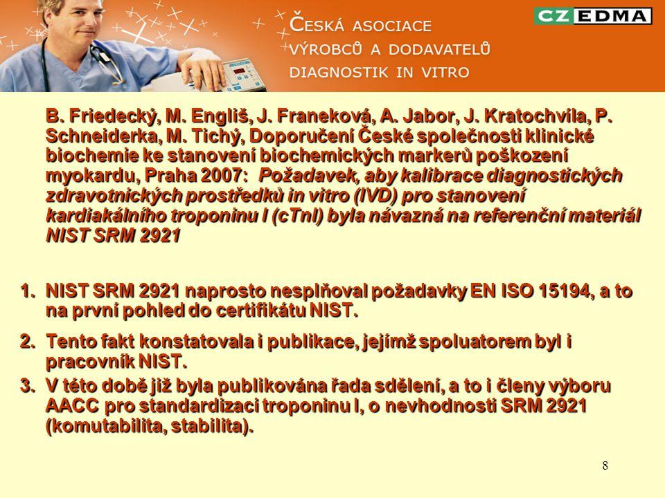 8 B. Friedecký, M. Engliš, J. Franeková, A. Jabor, J. Kratochvíla, P. Schneiderka, M. Tichý, Doporučení České společnosti klinické biochemie ke stanov