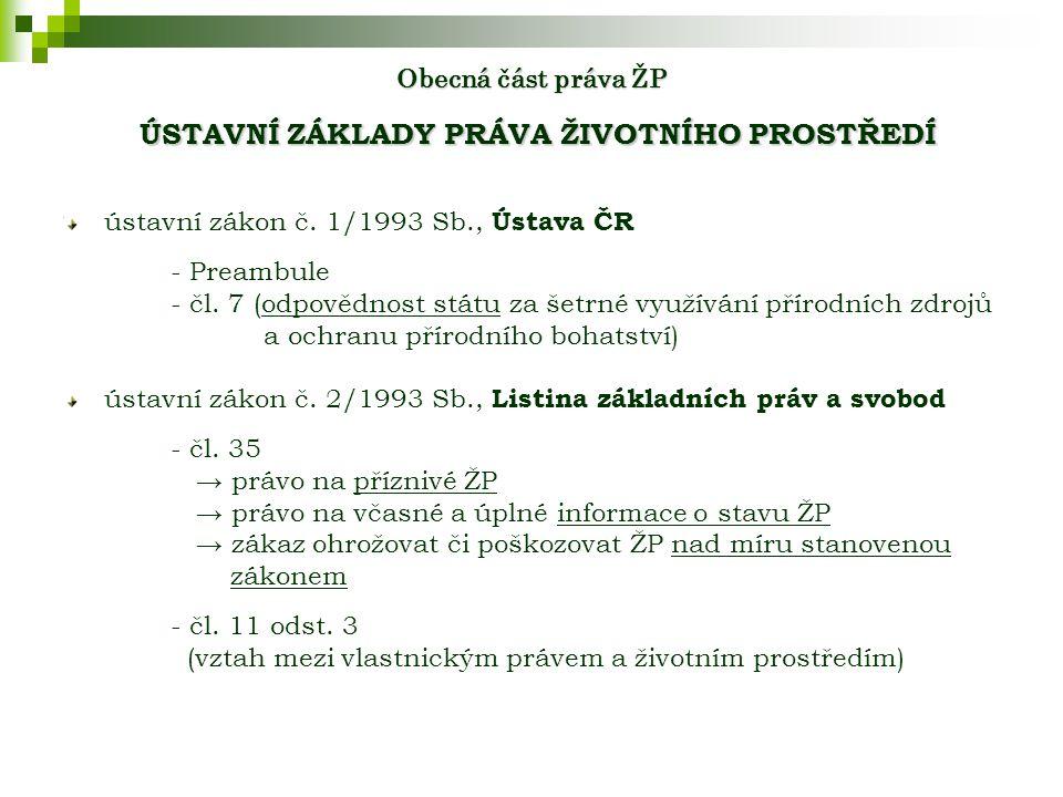 Obecná část práva ŽP ÚSTAVNÍ ZÁKLADY PRÁVA ŽIVOTNÍHO PROSTŘEDÍ ústavní zákon č.