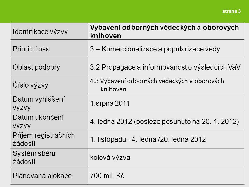 strana 3 Identifikace výzvy Vybavení odborných vědeckých a oborových knihoven Prioritní osa 3 – Komercionalizace a popularizace vědy Oblast podpory 3.2 Propagace a informovanost o výsledcích VaV Číslo výzvy 4.3 Vybavení odborných vědeckých a oborových knihoven Datum vyhlášení výzvy 1.srpna 2011 Datum ukončení výzvy 4.