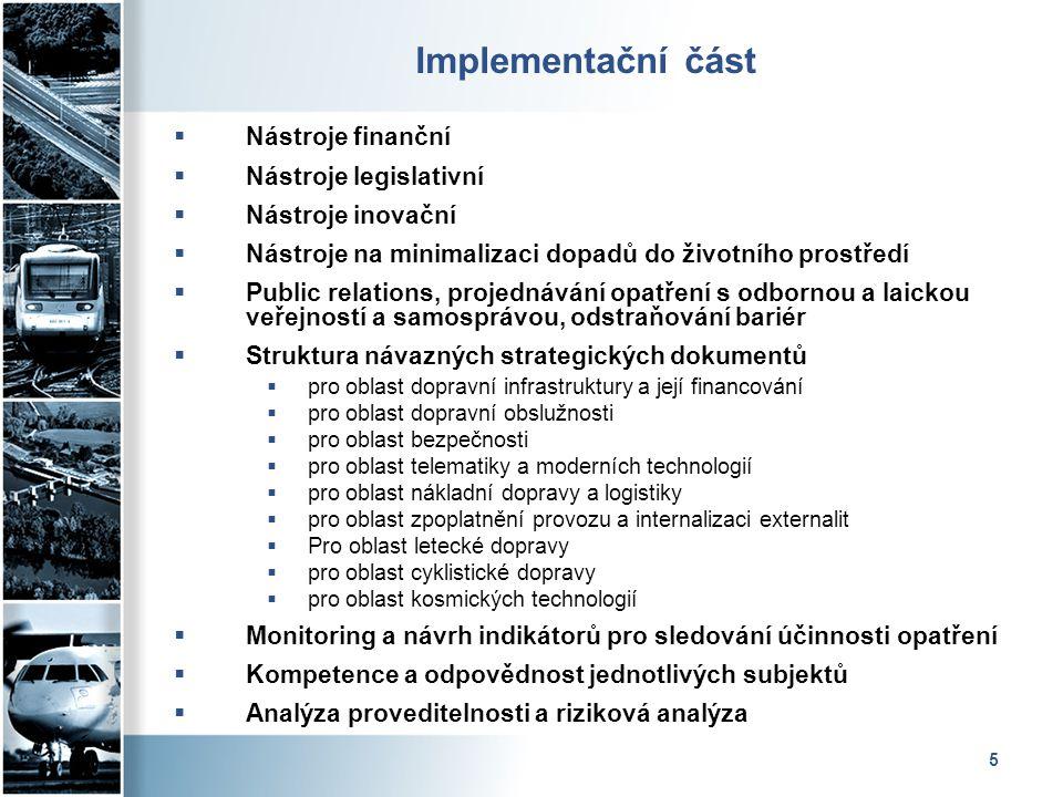 5 Implementační část  Nástroje finanční  Nástroje legislativní  Nástroje inovační  Nástroje na minimalizaci dopadů do životního prostředí  Public