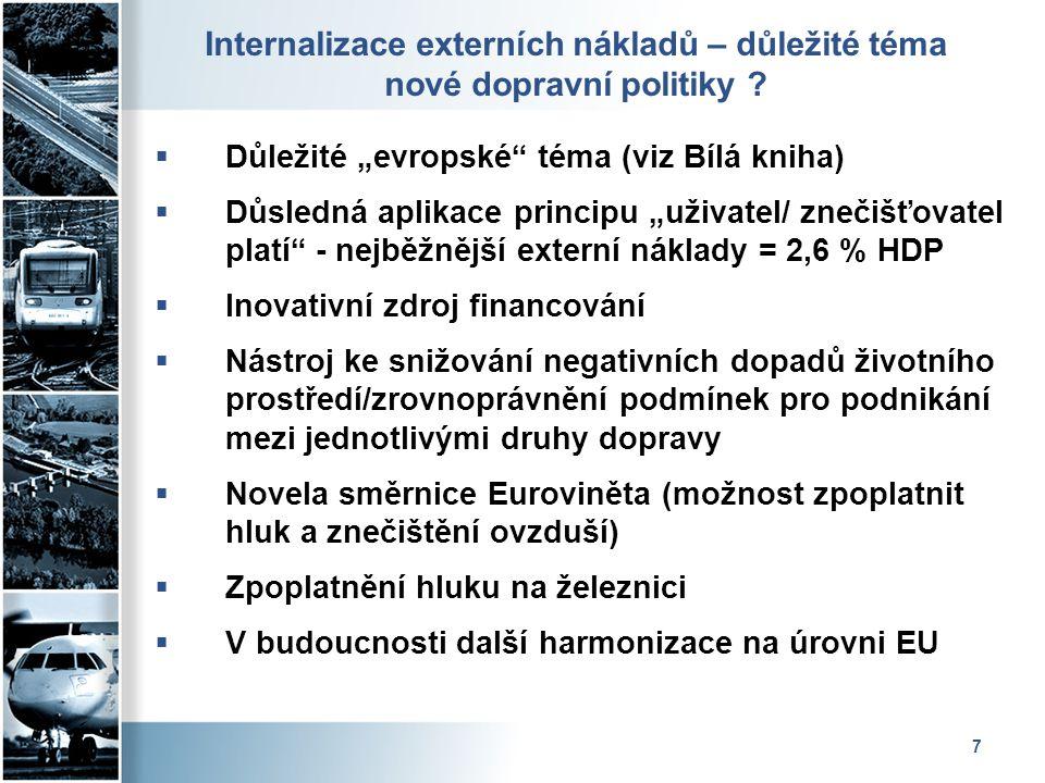 """7 Internalizace externích nákladů – důležité téma nové dopravní politiky ?  Důležité """"evropské"""" téma (viz Bílá kniha)  Důsledná aplikace principu """"u"""