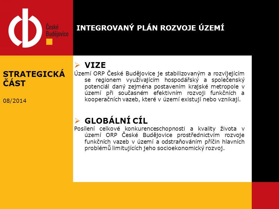  VIZE Území ORP České Budějovice je stabilizovaným a rozvíjejícím se regionem využívajícím hospodářský a společenský potenciál daný zejména postavením krajské metropole v území při současném efektivním rozvoji funkčních a kooperačních vazeb, které v území existují nebo vznikají.