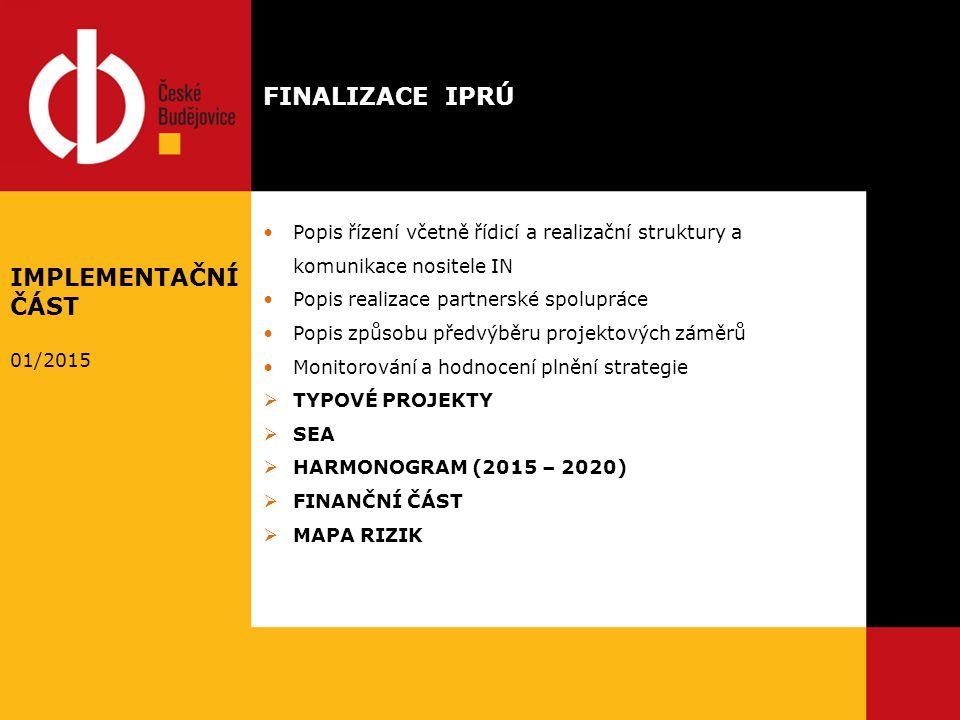 Popis řízení včetně řídicí a realizační struktury a komunikace nositele IN Popis realizace partnerské spolupráce Popis způsobu předvýběru projektových záměrů Monitorování a hodnocení plnění strategie  TYPOVÉ PROJEKTY  SEA  HARMONOGRAM (2015 – 2020)  FINANČNÍ ČÁST  MAPA RIZIK FINALIZACE IPRÚ IMPLEMENTAČNÍ ČÁST 01/2015