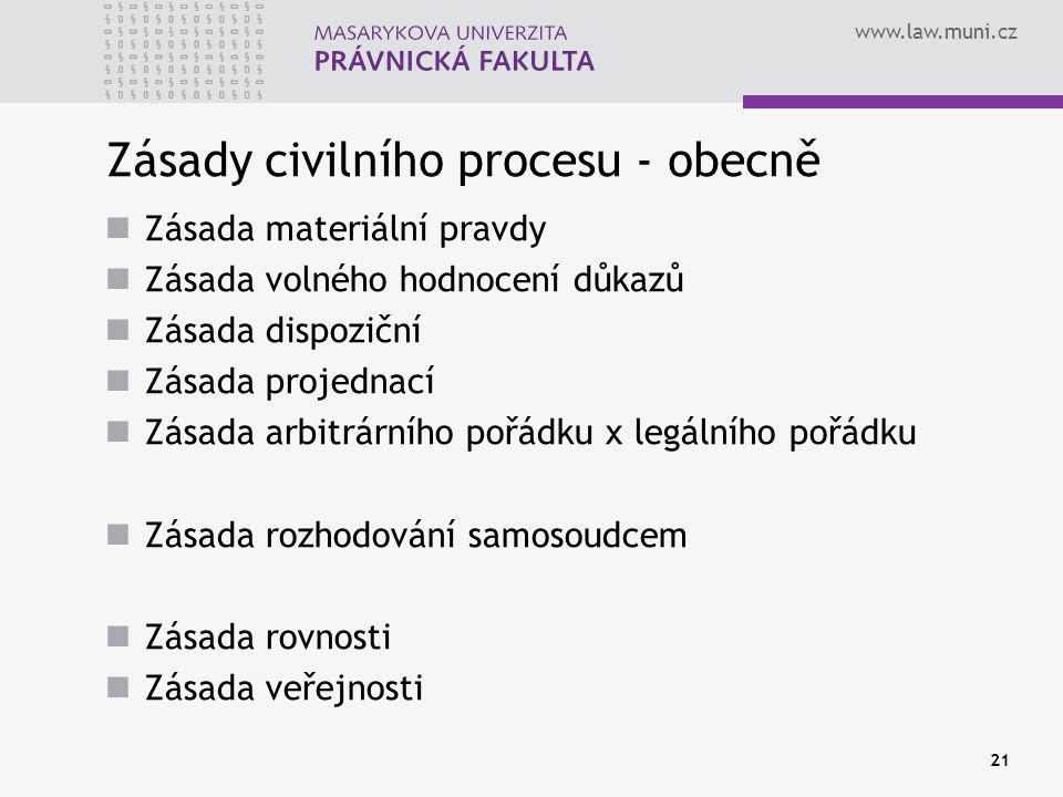 www.law.muni.cz 21 Zásady civilního procesu - obecně Zásada materiální pravdy Zásada volného hodnocení důkazů Zásada dispoziční Zásada projednací Zásada arbitrárního pořádku x legálního pořádku Zásada rozhodování samosoudcem Zásada rovnosti Zásada veřejnosti