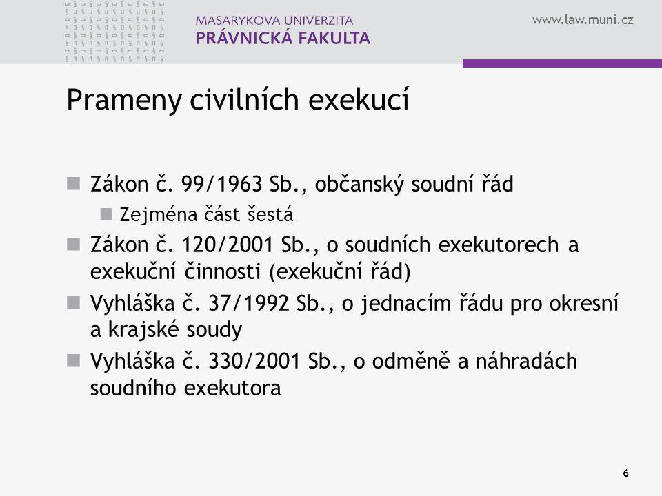 www.law.muni.cz 6 Prameny civilních exekucí Zákon č.