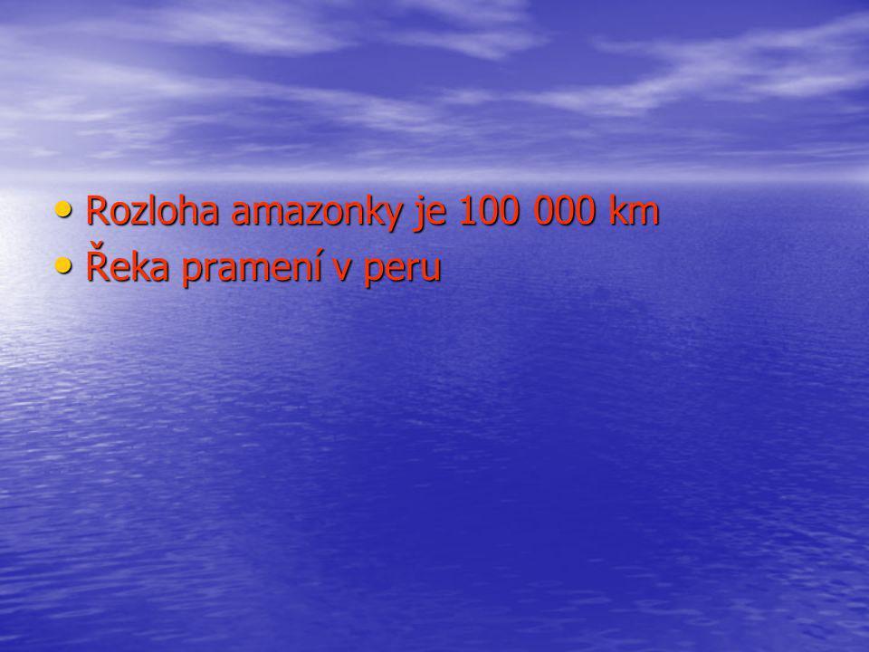 Rozloha amazonky je 100 000 km Rozloha amazonky je 100 000 km Řeka pramení v peru Řeka pramení v peru