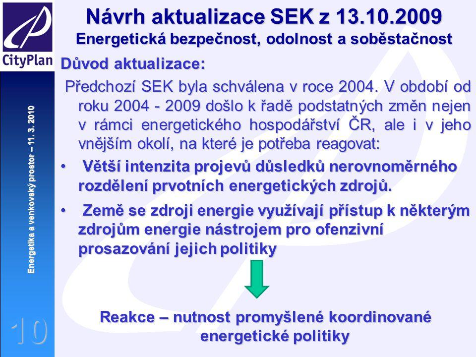 Energetika a venkovský prostor – 11. 3. 2010 10 Důvod aktualizace: Předchozí SEK byla schválena v roce 2004. V období od roku 2004 - 2009 došlo k řadě